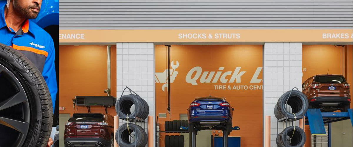 Ford quick lane shop with multiple vehicles getting their service done