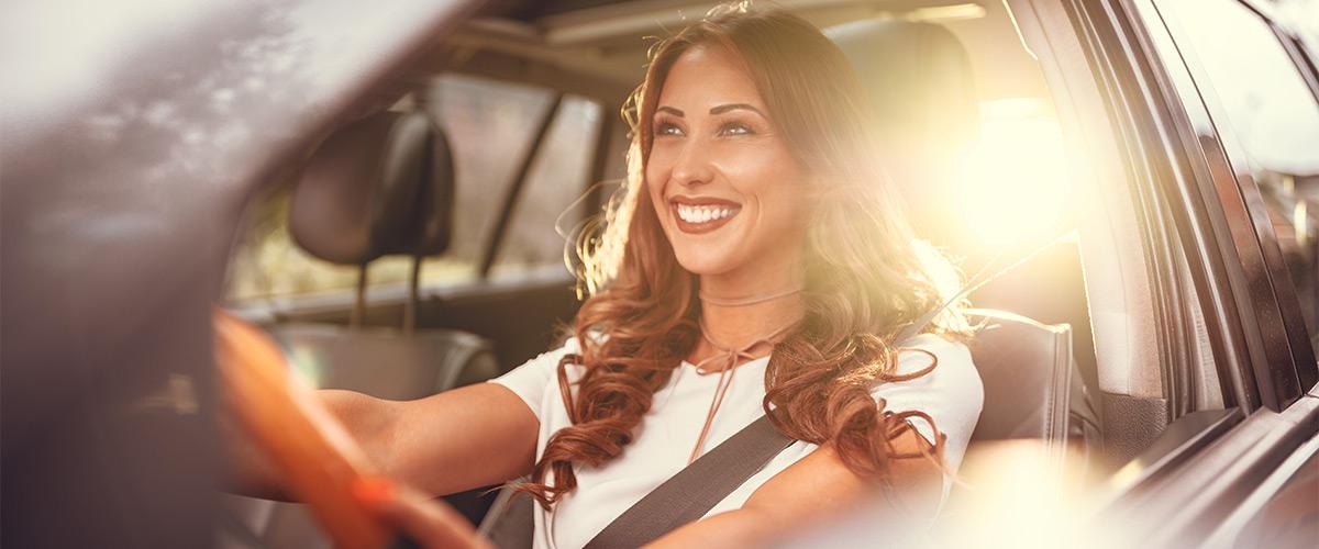 Lady driving car