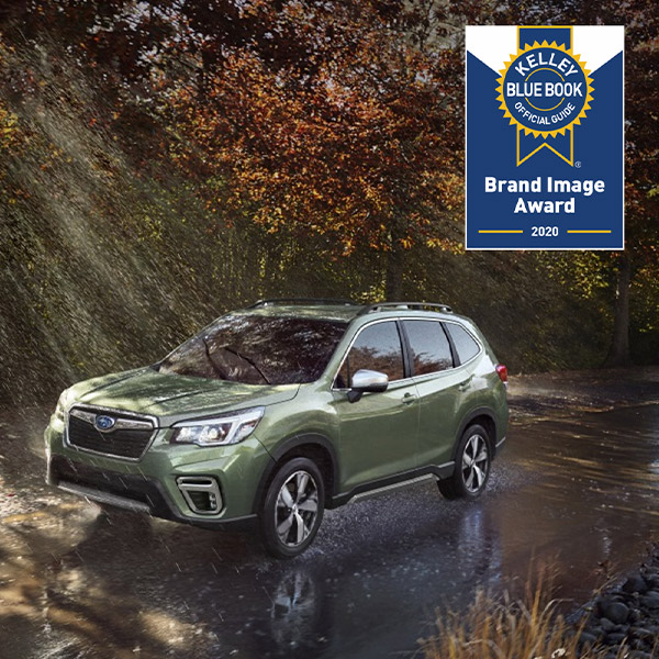 green subaru forester with kbb brand image award