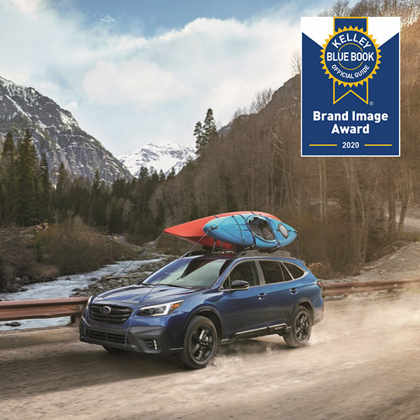 blue subaru outback with kbb brand image award