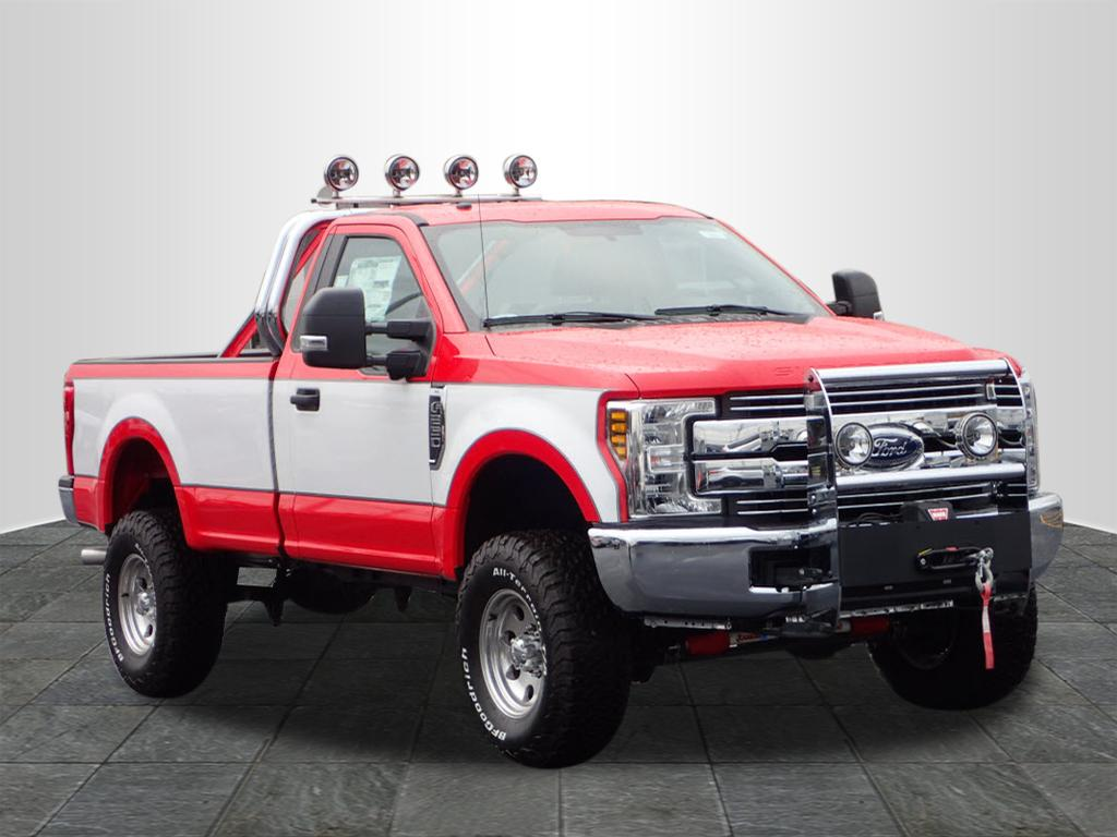 red and white lifted truck