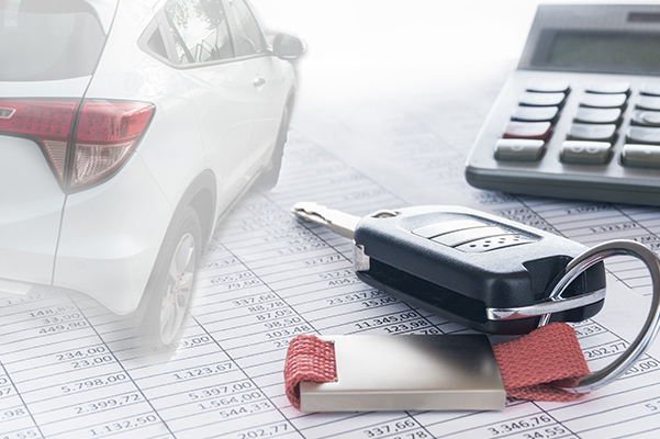Calculator, Car Key and Car