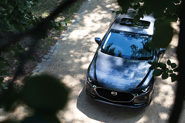 Aerial view of a parked 2020 Mazda3