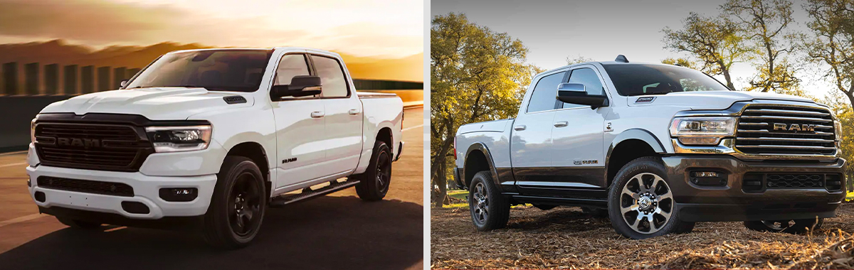 Left: Display A three-quarter profile of a white 2021 Ram 1500 with the sun setting behind it. Right: The 2020 Ram 2500 parked in a wooded field.