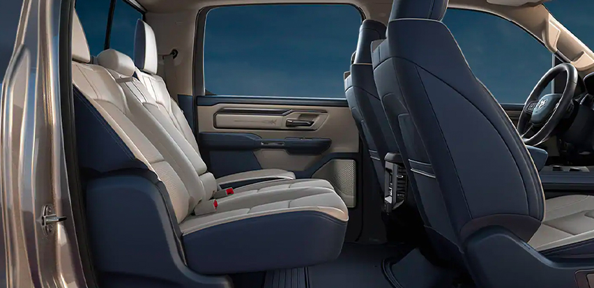 Display The rear seats in the 2021 Ram 1500.