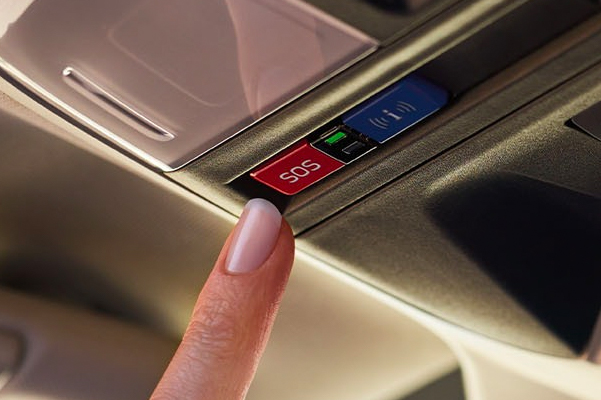 A close-up of the SUBARU STARLINK Safety and Security buttons on the 2021 Subaru Crosstrek.