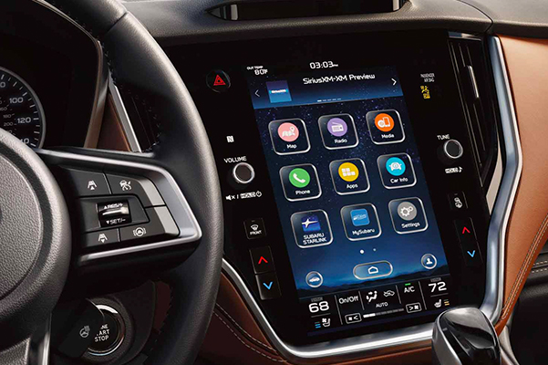 A close-up of the available 11.6-inch touchscreen for the SUBARU STARLINK® Multimedia system on the 2021 Subaru Outback.