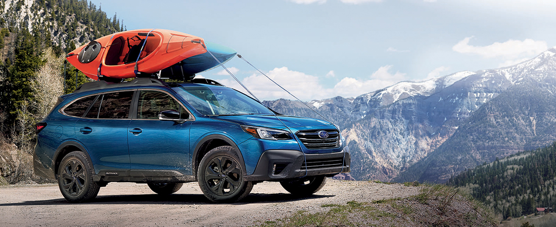 MY20 Subaru Life & Vehicles Showroom Brochure, Outback Onyx, Abyss Blue Pearl, Mountains, Kayaks