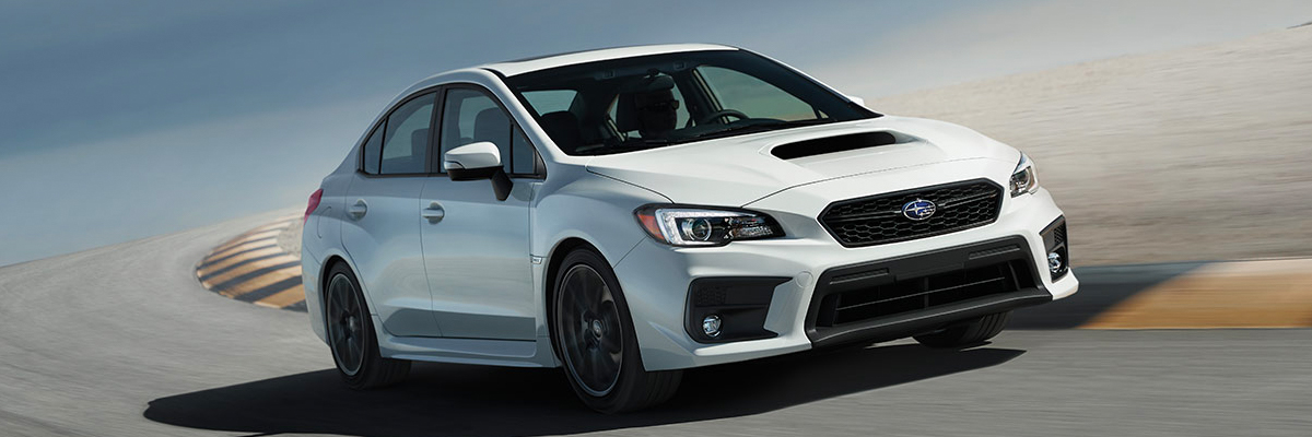 A 2020 WRX cornering on a race track.