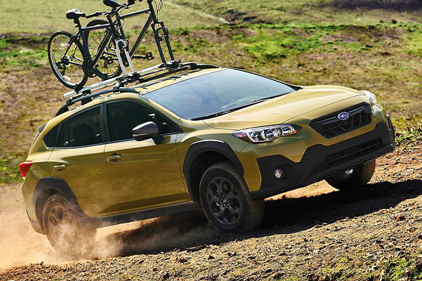 2021 Crosstrek Sport shown in Plasma Yellow Pearl with accessory equipment