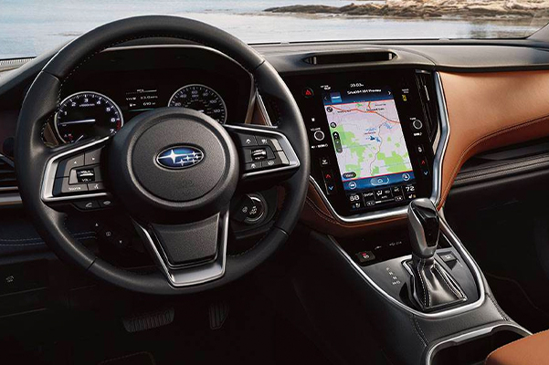2021 Subaru Outback Touring interior shown in Java Brown Nappa Leather