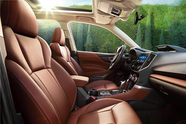 2021 Subaru Forester Touring interior shown in Saddle Brown Leather