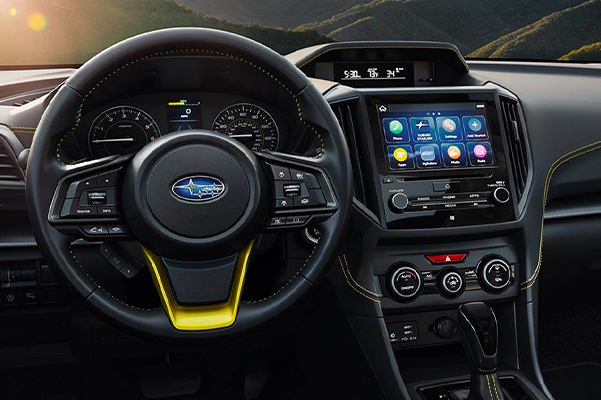 2021 Subaru Crosstrek Sport interior shown in Gray StarTex®