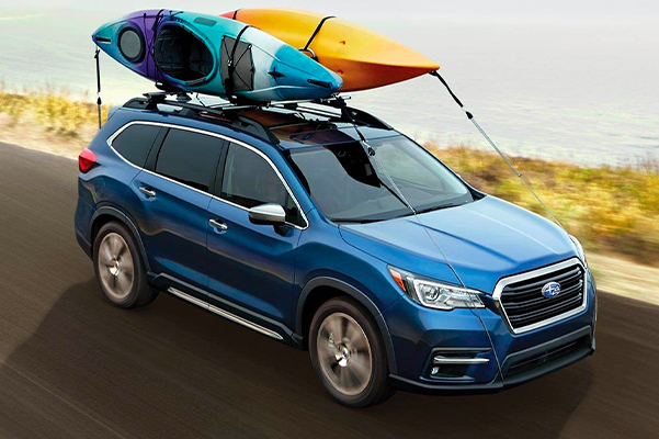 2021 Subaru Ascent Touring shown in Abyss Blue Pearl with accessory equipment