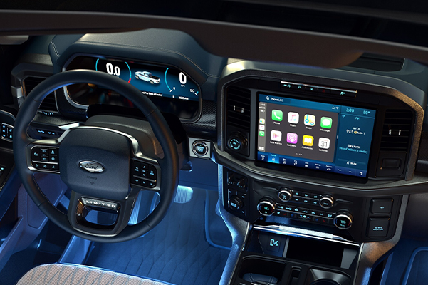 Overhead view of a 2021 Ford F 1 50 interior with ambient lighting in cool Ice Blue