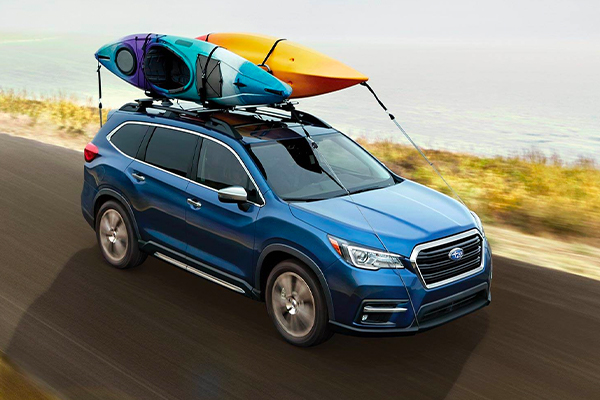 2020 Subaru Ascent hauling two kayaks on the roof rails