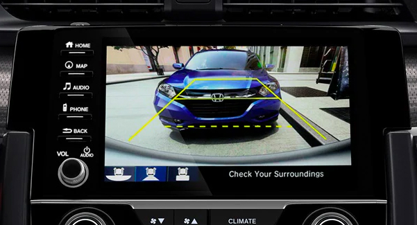 Multi-angle rearview camera detail displayed on the Display Audio touch-screen in the 2019 Honda Civic Touring Coupe shown with Black Leather.