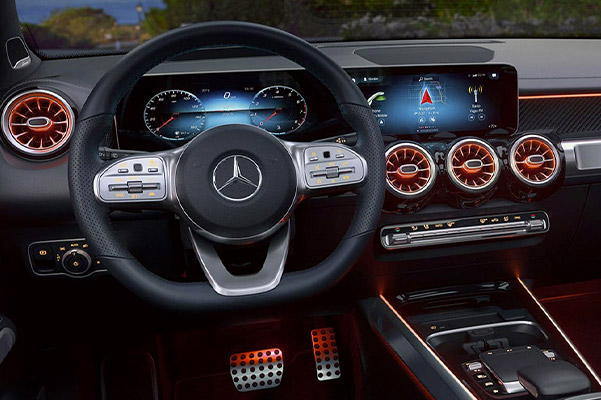 interior view of the Mercedes-Benz GLA showcasing interior lights and dashboard design
