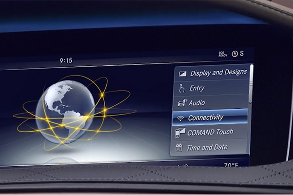 close up of mercedes benz s class digital screen showcasing connectivity features