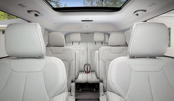 All three rows of seats on the 2021 Jeep Grand Cherokee L Overland.