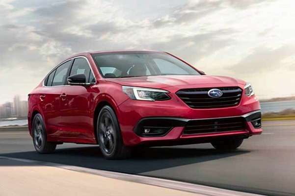 A 2020 Subaru Legacy Sport shown in Crimson Red Pearl