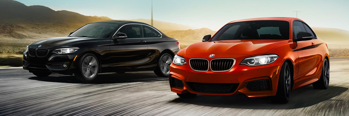 Two 2021 BMW 2 Coupes rushing ahead side by side on an open road