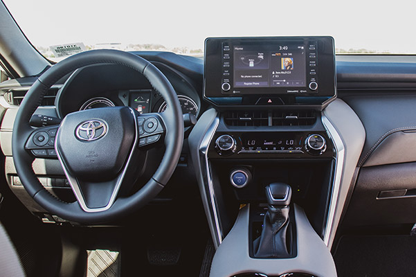 2021 Toyota Venza innterior view showcasing driver dashboard