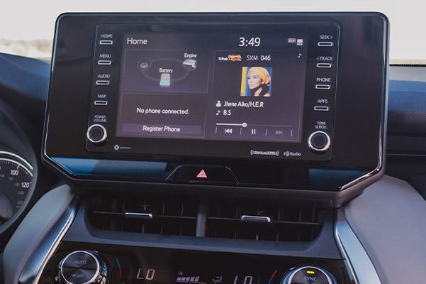 2021 Toyota Venza black interior view showcasing digital screen