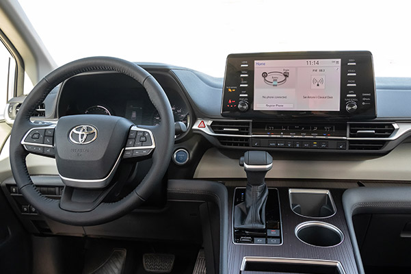 interior view of 2021 toyota sienna showcasing Driver dashboard and digital screen