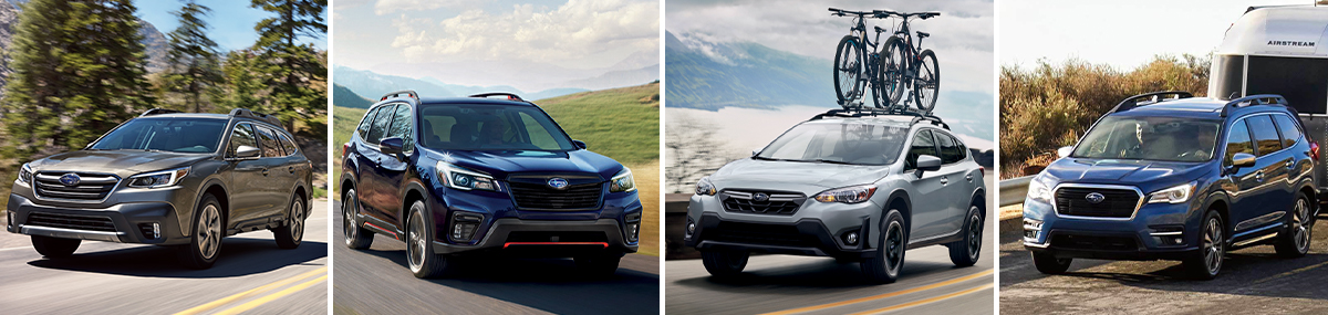 Left to right: 2021 Subaru Outback, 2021 Subaru Forester, 2021 Subaru Crosstrek, 2021 Subaru Ascent