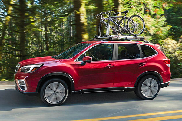 2021 Subaru Forester Limited shown in Crimson Red Pearl with accessory equipment