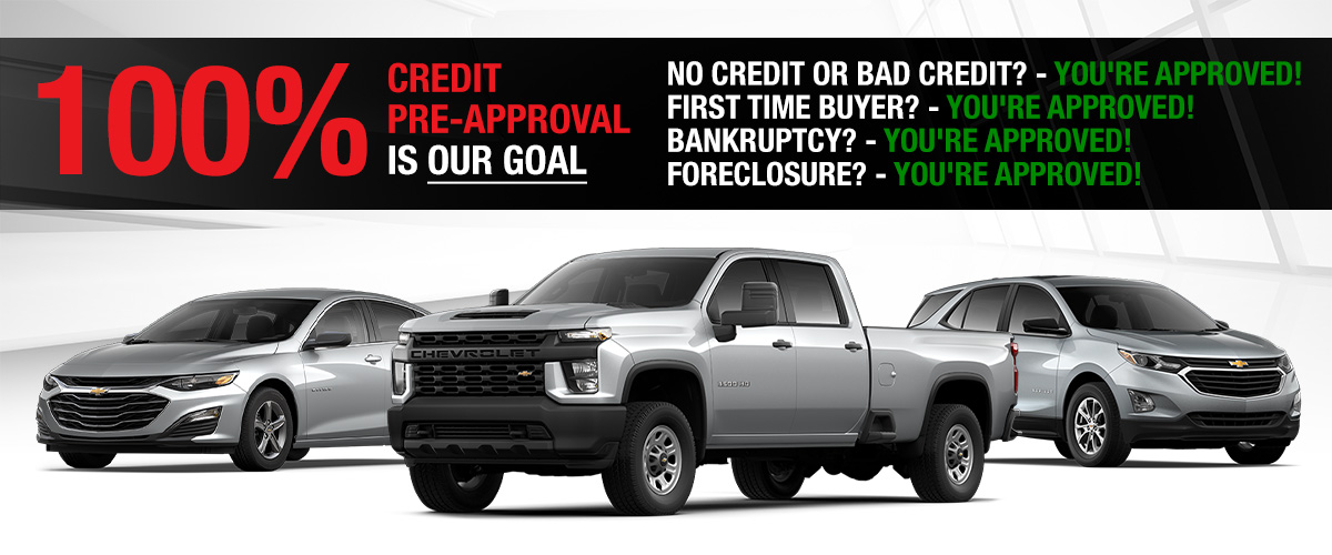 100% Credit Approval Is Our Goal! No Credit Or Bad Credit? - You're Approved! First Time Buyer? - You're Approved! $99 and a Job? - You're Approved!